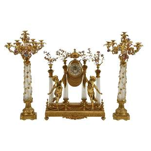French Dore Bronze and Cut Crystal Clock Garniture Set.