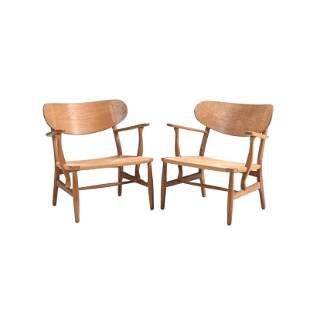 Pair of Hans Wagner CH-22 Pickled Oak and Jute Lounge