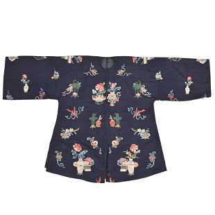 A Chinese Midnight-Blue Lady's Informal Robe.
