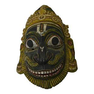 Southeast Asian Carved Wood and Painted Mask.