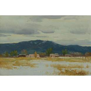 """Paul Strisik """"South of Taos"""" oil on panel"""