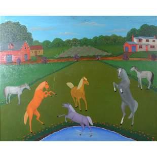 Painting, Lawrence Lebduska, Horses at Play