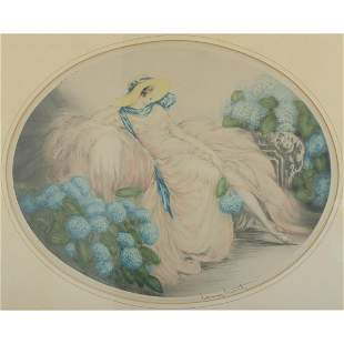 Print, Louis Icart, Hydrangeas, 1929