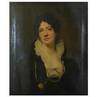"""School of Henry Raeburn """"Portrait of a Woman"""" oil on"""