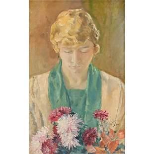 "Austrian School ""Portrait with Flowers"" oil on canvas"