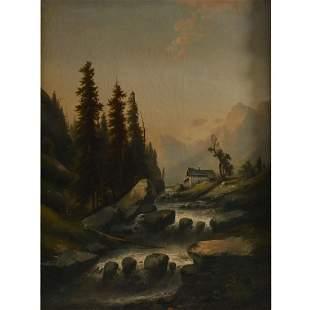 "German School ""Mountain River"" oil on canvas"