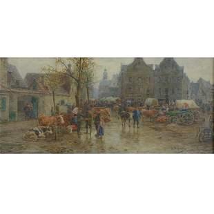 Painting, German School, Cattle Market