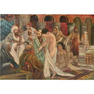 """Attributed to Gyula Tornai """"Harem"""" oil on canvas"""