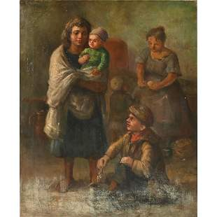 """Hungarian School """"Family"""" oil on canvas"""