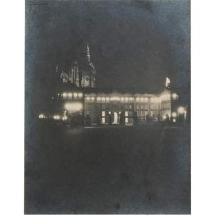 Vintage Photograph, Notre Dame at Night, 1933