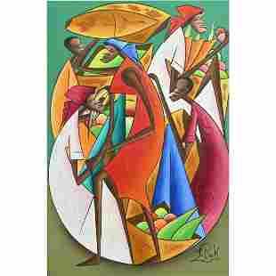 Painting, Fritz Rock, Haitian Market Scene