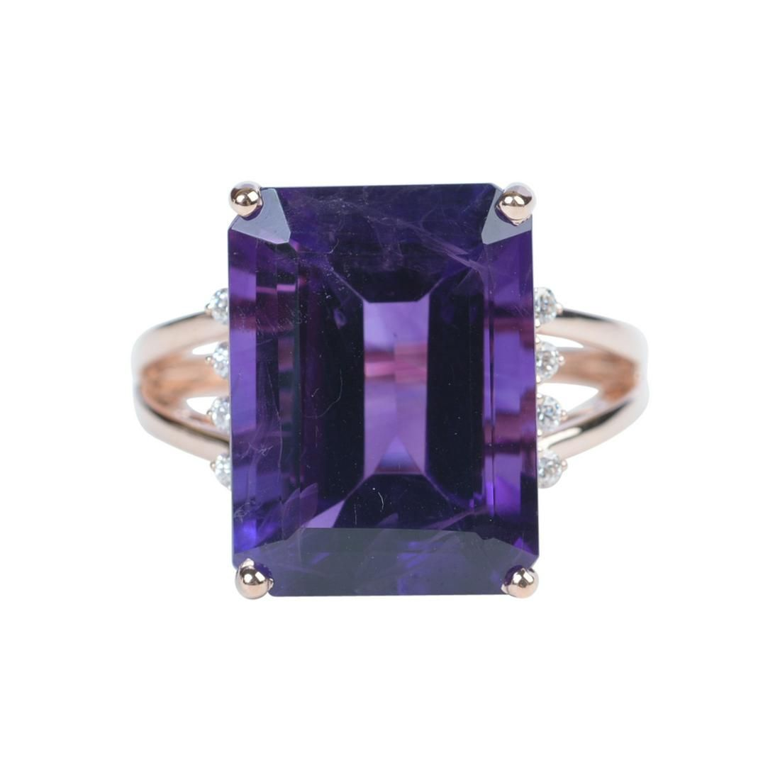 Amethyst, Diamond, 14k Rose Gold Ring.