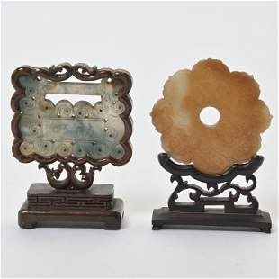 Chinese Jade Carvings on Stands.