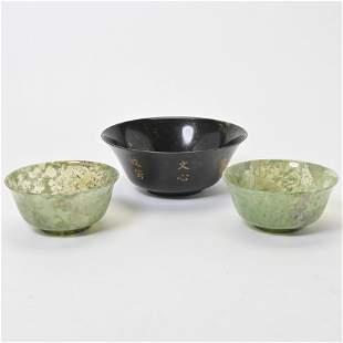 Three Serpentine Hardstone Bowls.