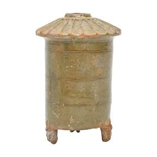 A Han Green Glazed Pottery Granary Jar.