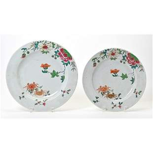 Two Large Chinese Export Famille Rose Plates