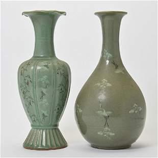 Two Korean Celadon Glaze Vases.