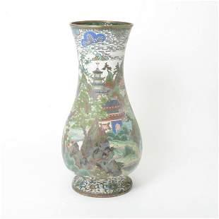 Large Chinese Cloisonne Baluster Vase.