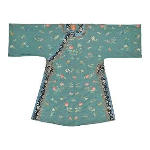 Chinese Green-Ground Silk Embroidered Robe