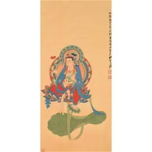 Attrib. to Zhang Daqian: Bodhisattva on Lotus.