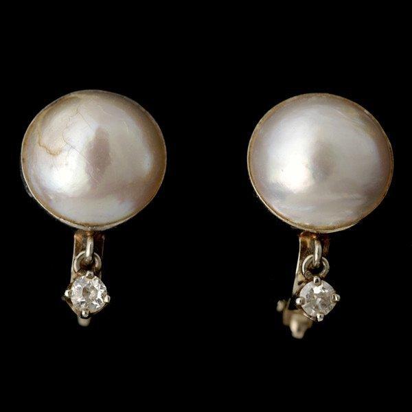 3: PAIR OF PEARL, DIAMOND, 14K WHITE GOLD EAR CLIPS