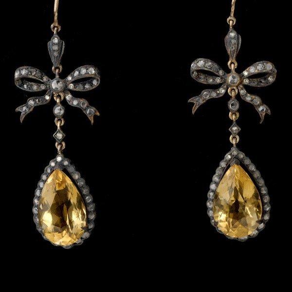 6: PAIR OF CITRINE, DIAMOND, SILVER, 14K GOLD EARRINGS