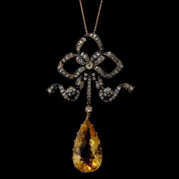 7: CITRINE, DIAMOND, SILVER, 14K GOLD PENDANT NECKLACE