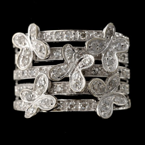 12: DIAMOND, 14K WHITE GOLD RING.
