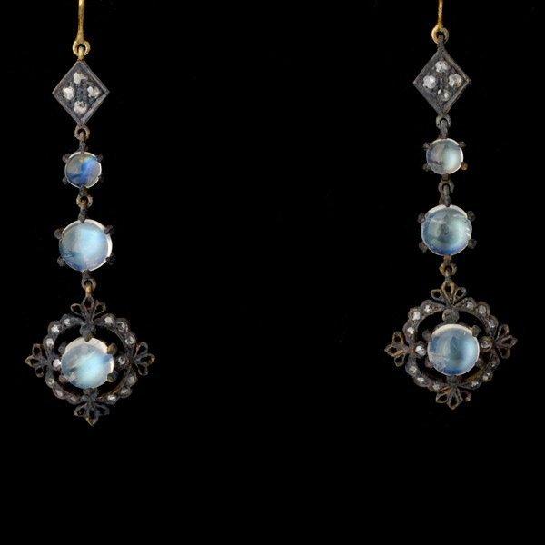14: PAIR OF MOONSTONE, DIAMOND, SILVER, 14K EARRINGS