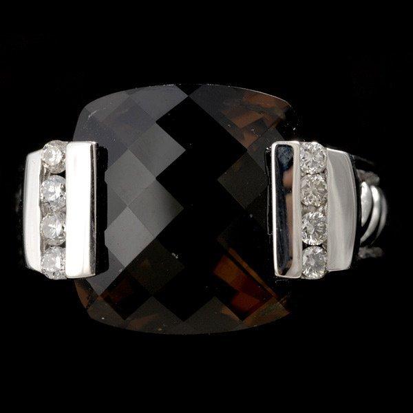 19: DAVID YURMAN, QUARTZ, DIAMOND, 18K WHITE GOLD RING