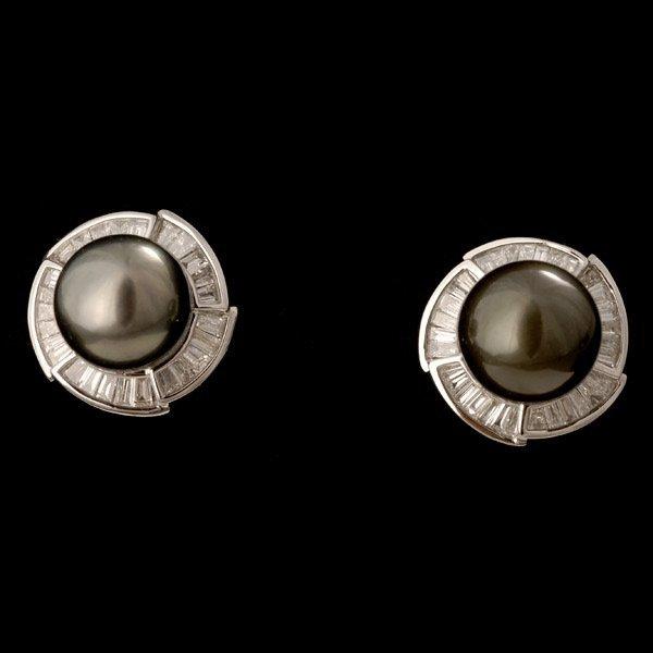 21: CULTURED PEARL, DIAMOND, 14K WHITE GOLD EARRINGS