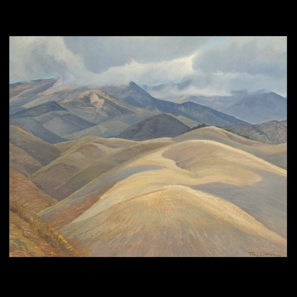 582: Ray Strong, Mountain Painting, Cal Art.