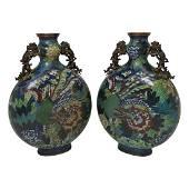 Pair of Cloisonne Enamel Bronze Moon Flasks.