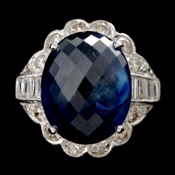 20: SAPPHIRE, DIAMOND, 18K WHITE GOLD RING.