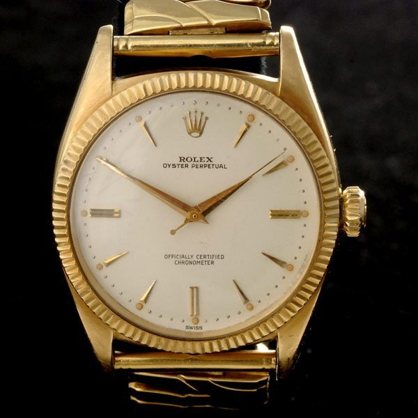 57: GENTS ROLEX OYSTER PERPETUAL YELLOW GOLD WRISTWATCH