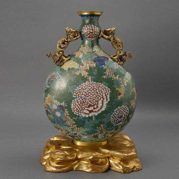 233: Chinese Cloisonné Moon Flask Vase