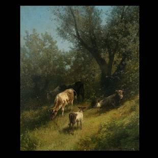 326: Hermann Herzog, Cows in landscape