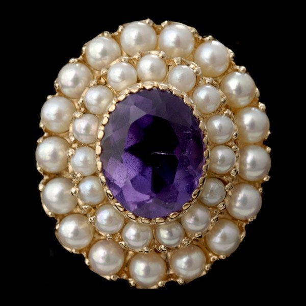 1000: AMETHYST, CULTURED PEARL, 14K YELLOW GOLD RING.