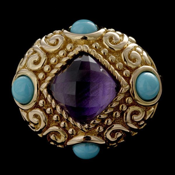 1001: TURQUOISE, AMETHYST, 14K YELLOW GOLD RING.