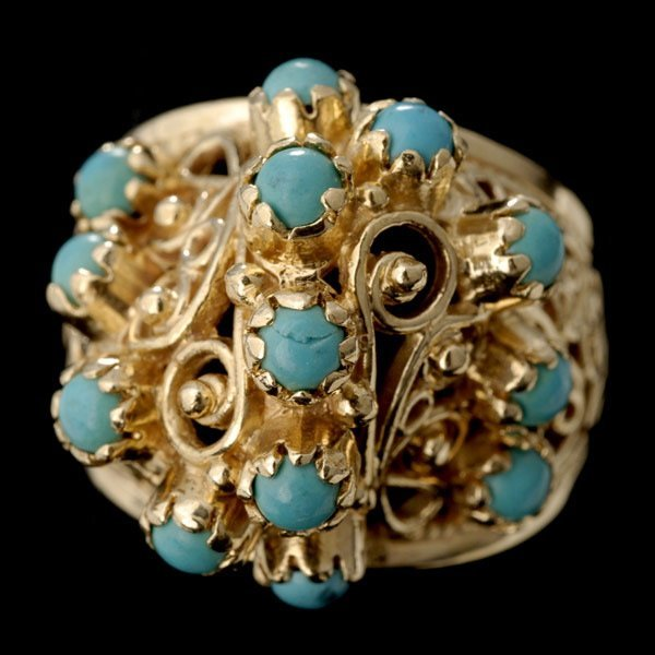 1002: TURQUOISE, 14K YELLOW GOLD RING.