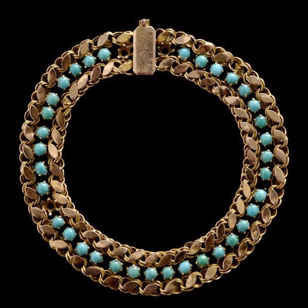 1004: TURQUOISE, 14K GOLD BRACELET AND BROOCH.