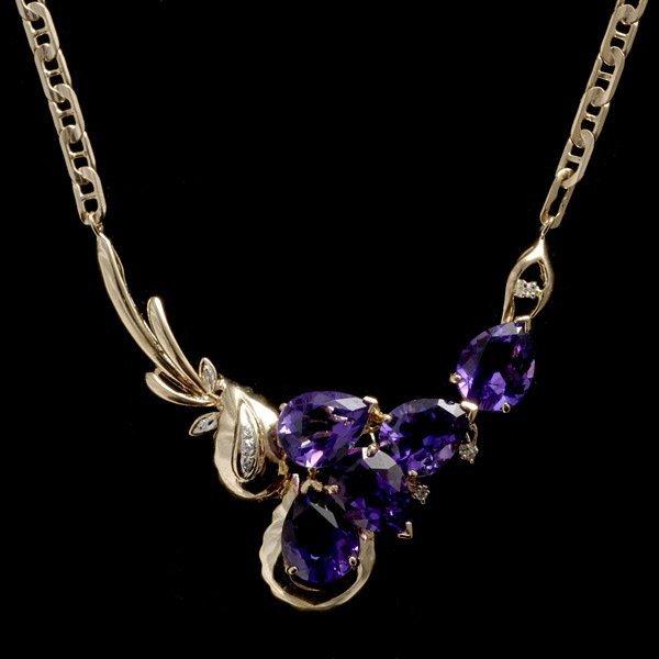 1006: AMETHYST, DIAMOND, 14K YELLOW GOLD NECKLACE.
