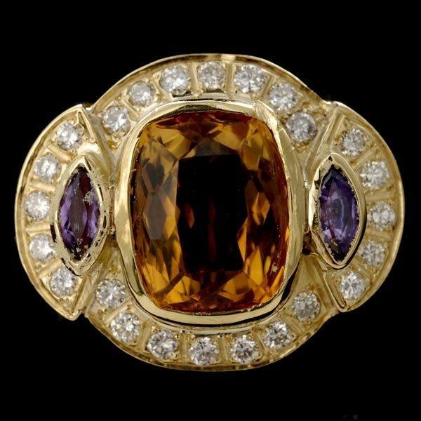 1014: CITRINE, AMETHYST, DIAMOND, 14K YELLOW GOLD RING.