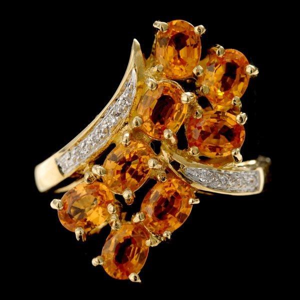 1016: SAPPHIRE, DIAMOND, 18K YELLOW GOLD RING.