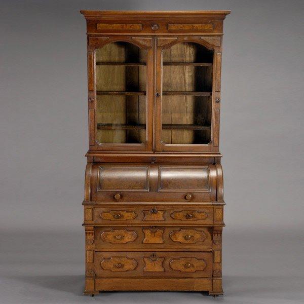 1437: Victorian Mahogany Roll-Top Desk