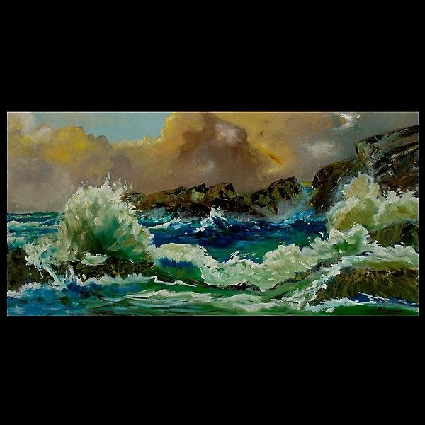 1004: DRAMATIC SEASCAPE PAINTING SIGNED VAUGHAN