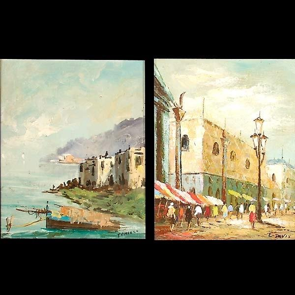 1008: 2 oil paintings, street scene & harbor scene.