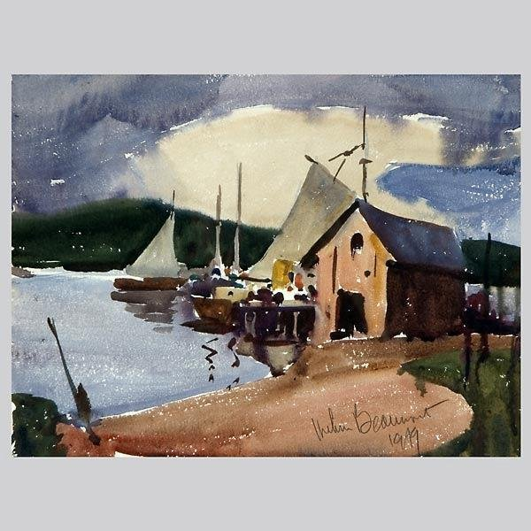 1009: ARTHUR BEAUMONT, Sailboats at Dock, watercolor.
