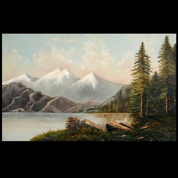 1011: American oil on canvas of mountain lake 19th c