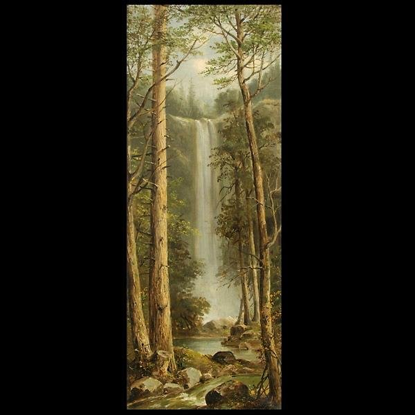 1013: Oil On Canvas, Waterfall Through Trees